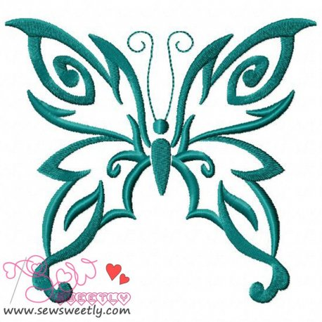 Teal Butterfly Embroidery Design Pattern- Category- Insects And Bugs Designs- 1