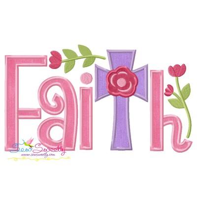 Faith Floral Cross Lettering Applique Design
