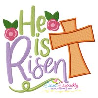 He Is Risen Cross Lettering Embroidery Design