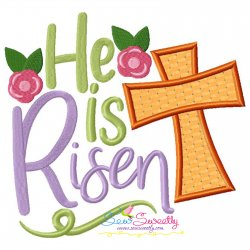 He Is Risen Cross Lettering Applique Design