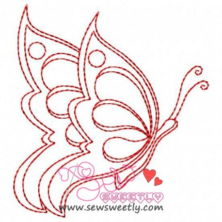 Redwork Butterfly Embroidery Design Pattern- Category- Insects And Bugs Designs- 1