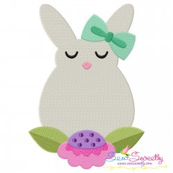 Bunny Flower Easter Embroidery Design