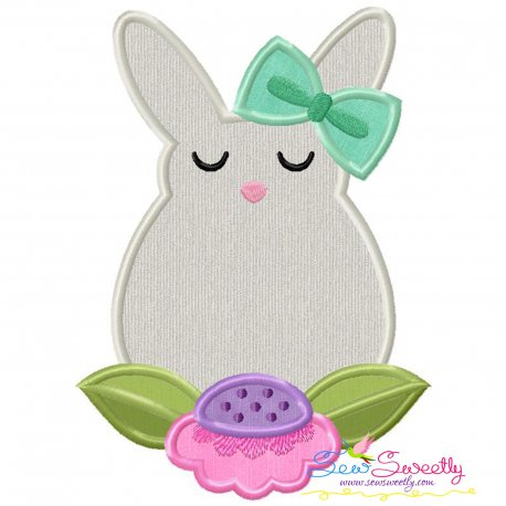 Bunny Flower Easter Applique Design Pattern- Category- Easter Designs- 1