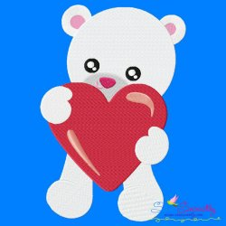 Valentine Baby Bear Heart Embroidery Design