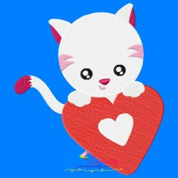 Valentine Baby Cat Heart Embroidery Design