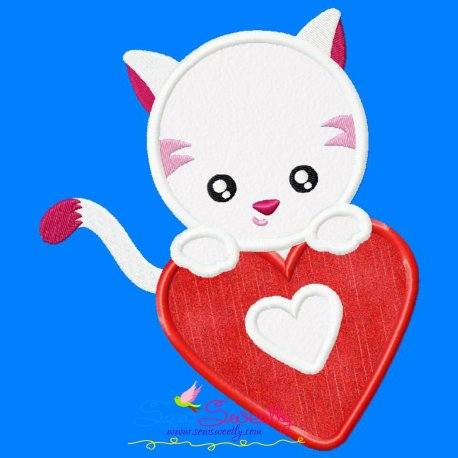 Valentine Baby Cat Heart Applique Design