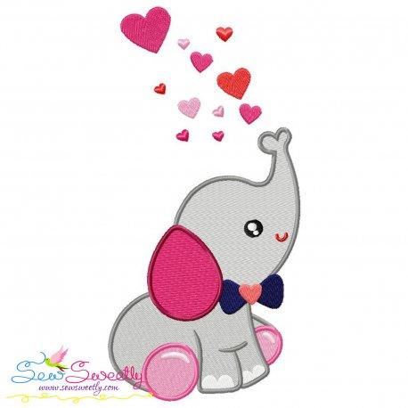 Valentine Baby Elephant Boy Embroidery Design