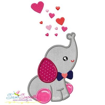 Valentine Elephant Baby Boy Applique Design