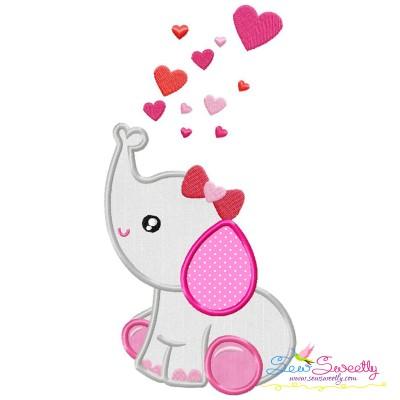 Valentine Elephant Baby Girl Applique Design