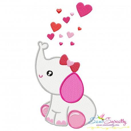 Valentine Elephant Baby Girl Embroidery Design