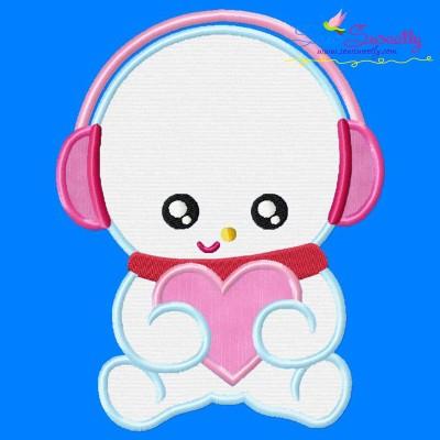 Valentine Baby Snowman Applique Design