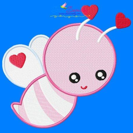 Valentine Bee Embroidery Design