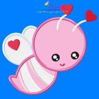 Valentine Bee Applique Design