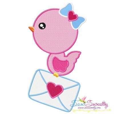Valentine Bird Letter Embroidery Design