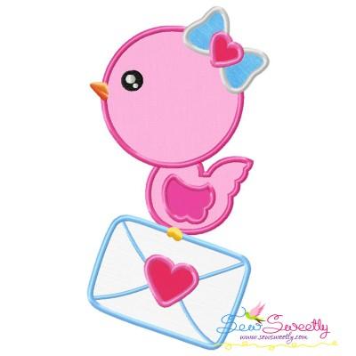 Valentine Bird Letter Applique Design