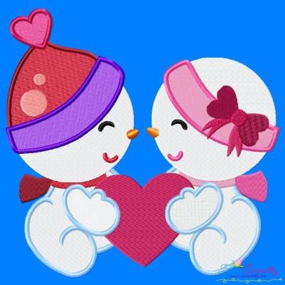Valentine Snowman Babies Embroidery Design