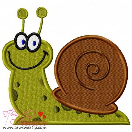Smiling Snail Embroidery Design Pattern- Category- Insects And Bugs Designs- 1