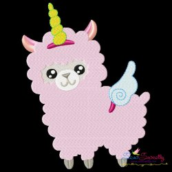 Valentine Unicorn Llama Embroidery Design