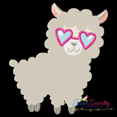 Valentine Llama Heart Glasses Embroidery Design