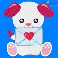 Valentine Puppy Embroidery Design