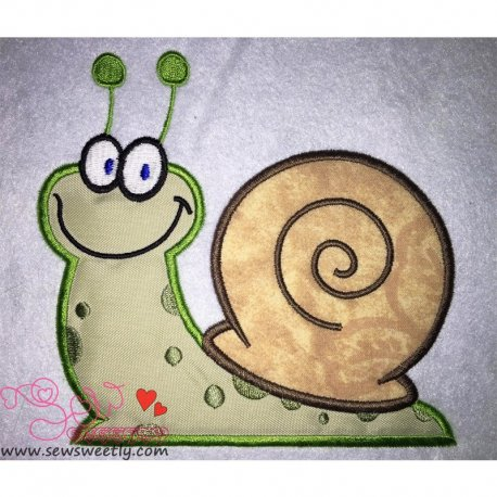 Smiling Snail Applique Design Pattern- Category- Insects And Bugs Designs- 1