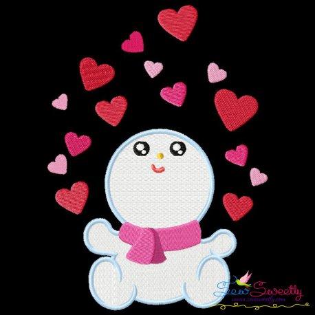 Valentine Baby Snowman Hearts Embroidery Design