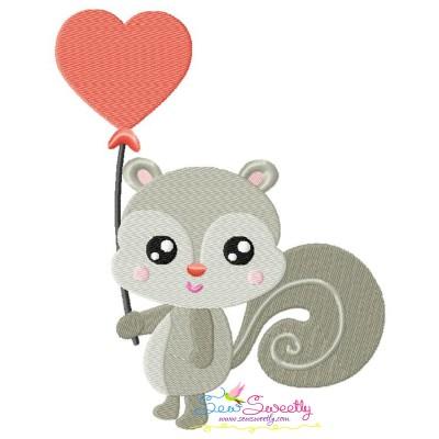 Valentine Baby Squirrel Heart Embroidery Design