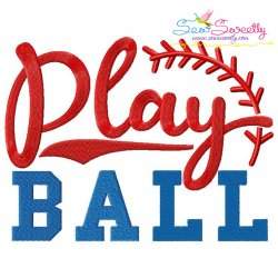 Play Ball Lettering Embroidery Design