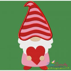 Gnome Valentine Love Embroidery Design