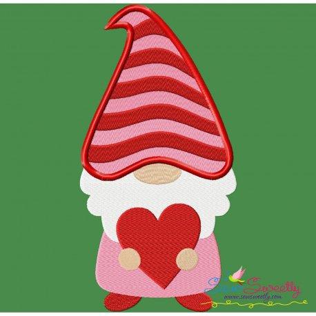 Gnome Valentine Love Embroidery Design