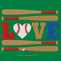 Love Baseball Bats Lettering Embroidery Design