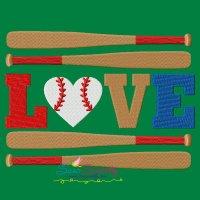 Love Baseball Bats Lettering Embroidery Design