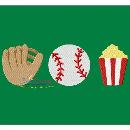 Baseball Mitt Popcorn Trio Embroidery Design Pattern- Category- Sports Designs- 1