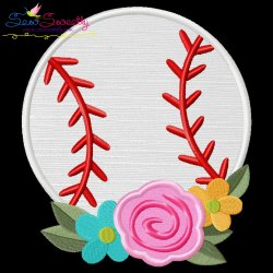Baseball Flowers Applique Design