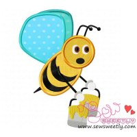 Bee Carrying Honey-1 Applique Design