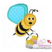 Bee Carrying Honey-1 Applique Design