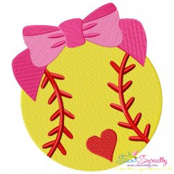 Softball Bow Embroidery Design