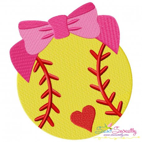 Softball Bow Embroidery Design