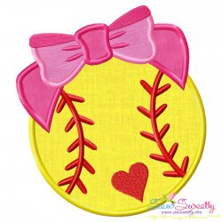 Softball Bow Applique Design