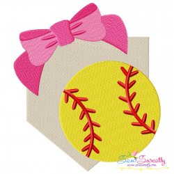 Softball Home Plate Bow Embroidery Design Pattern- Category- Sports Designs- 1