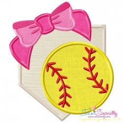 Softball Home Plate Bow Applique Design Pattern- Category- Sports Designs- 1