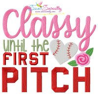 Baseball Classy First Pitch Lettering Embroidery Design