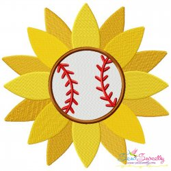 Baseball Sunflower Embroidery Design Pattern- Category- Sports Designs- 1