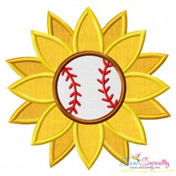 Baseball Sunflower Applique Design