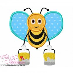 Bee Carrying Honey-2 Applique Design