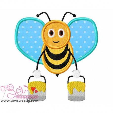 Bee Carrying Honey-2 Applique Design