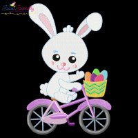 Easter Bunny Bicycle Embroidery Design