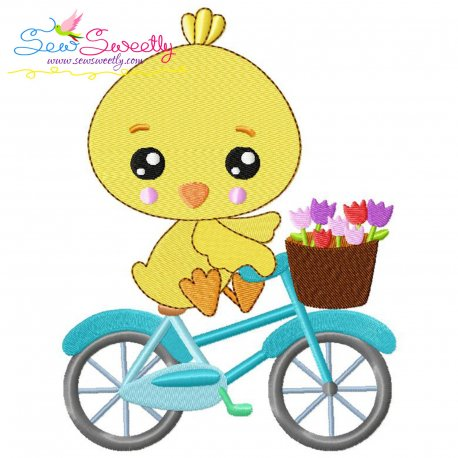 Easter Chick Bicycle Embroidery Design