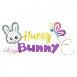 Easter Hunny Bunny Lettering Embroidery Design