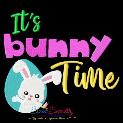 It's Bunny Time Lettering Embroidery Design